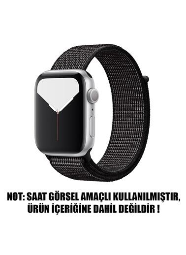 Microsonic Apple Watch Series 6 44mm Hasırlı Kordon Woven Sport Loop Siyah Siyah